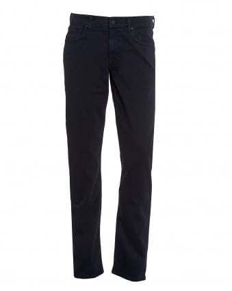 Mens Luxe Performance Jeans, Plain Navy Jeans