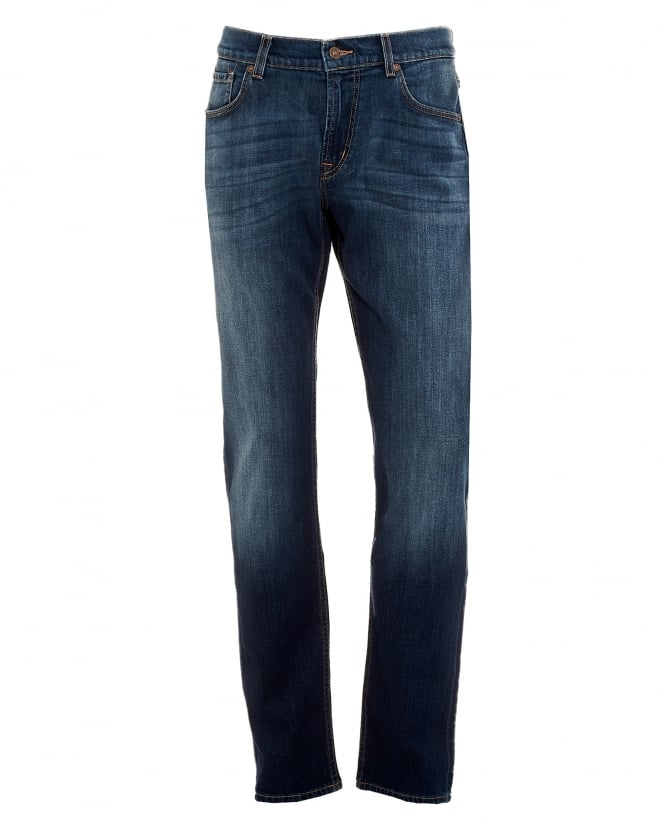 For All Mankind Mens New York Dark Used Jeans, Straight Cut Denim