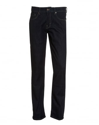 Mens New York Rinse Jeans, Dark Indigo Straight Cut Denim Jeans