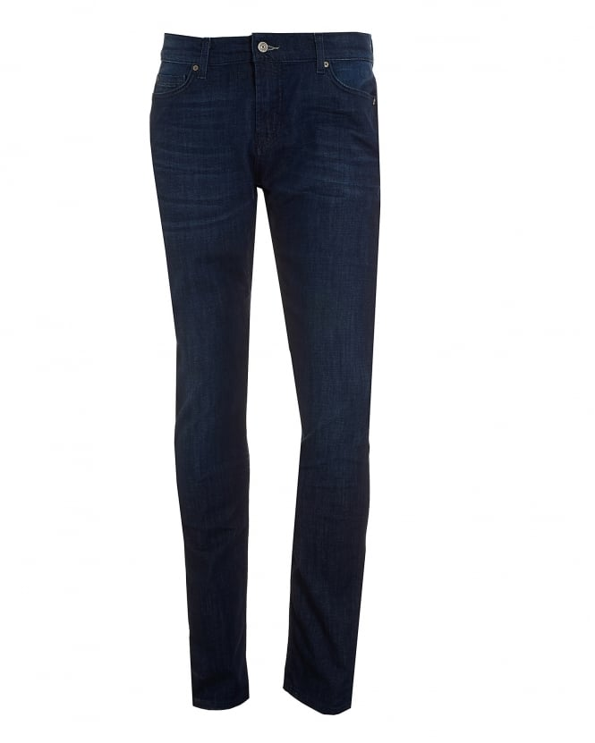 For All Mankind Mens Ronnie Jeans, Dark Blue Slim Fit Denim
