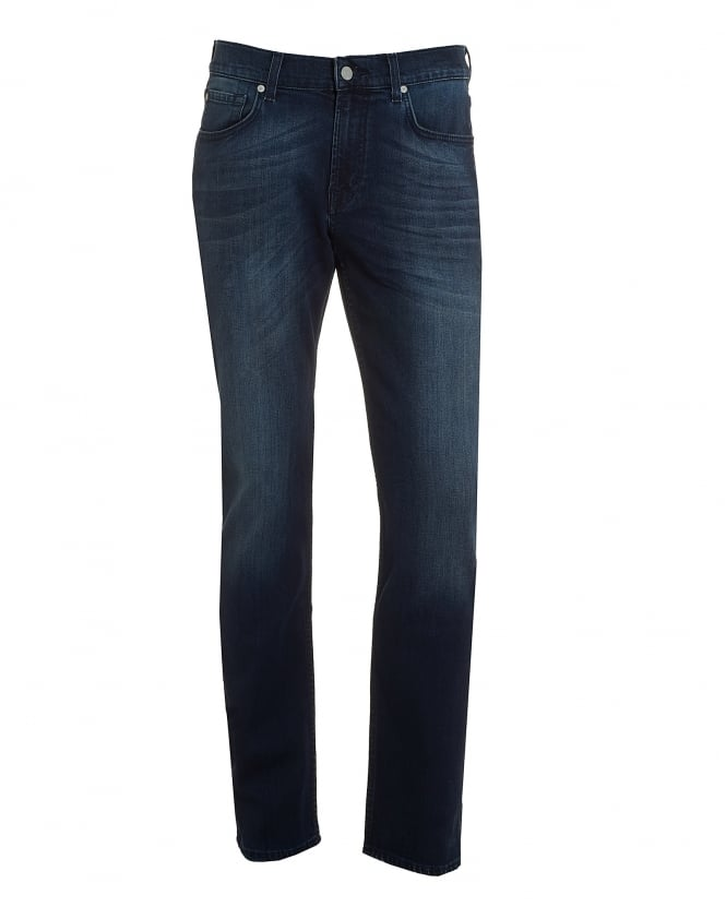 For All Mankind Mens Slimmy Jeans, Dark Blue Faded Wash Denim