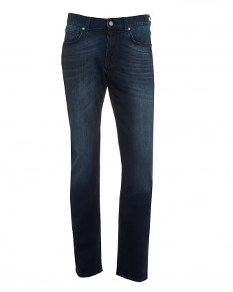 Mens Slimmy Jeans, Dark Blue Faded Wash Denim