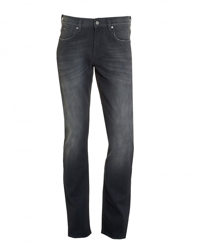 For All Mankind Mens Slimmy Jeans, Grey Faded Wash Slim Fit Denim