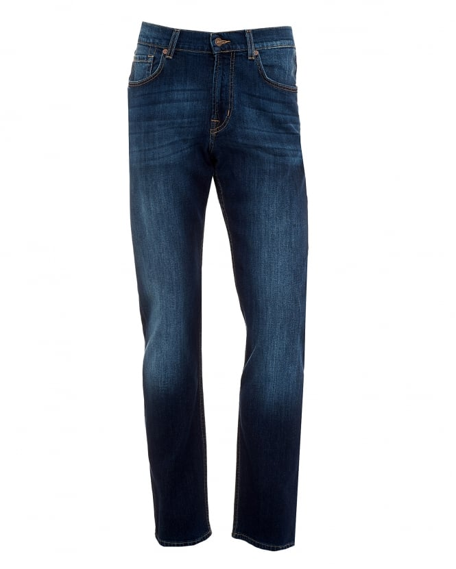 For All Mankind Mens Slimmy Jeans, New York Dark Used Blue Denim