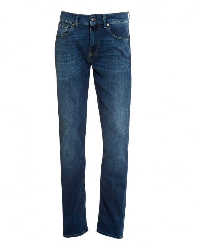For All Mankind Mens Slimmy Jeans, New York Mid-Used Blue Whiskered Jeans