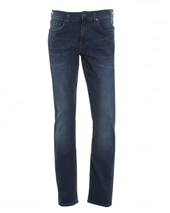Mens Slimmy Luxe Performance Jeans, Slim Fit North Dark Blue Denim