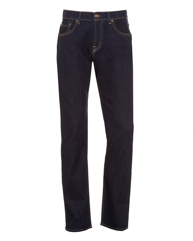 For All Mankind Mens The Straight Jeans, New York Rinse Dark Navy Denim