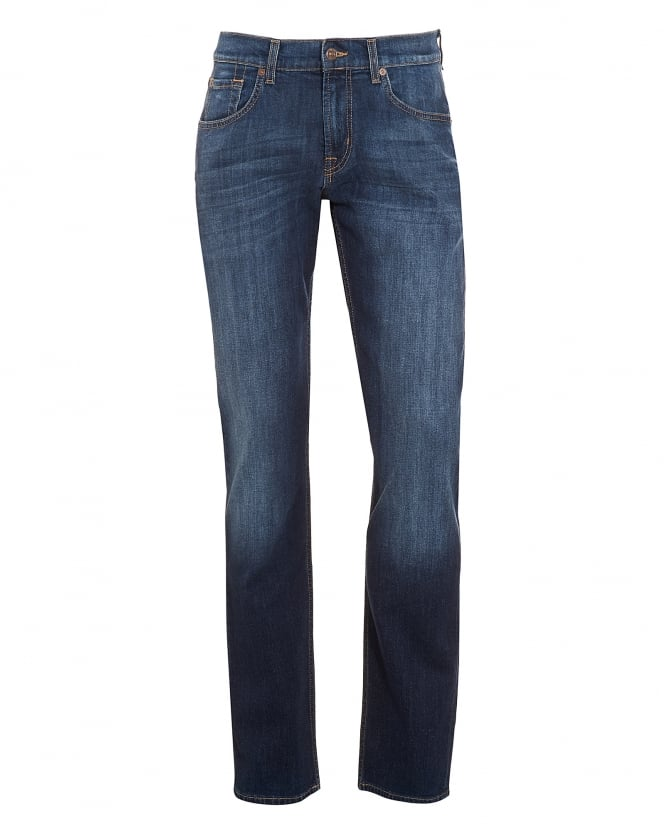 For All Mankind Mens The Straight Jeans, New York Rinse Dark Used Denim