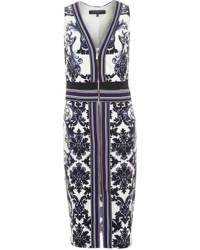 Forever Unique Womens Selma Dress, Paisley Print Fitted Midi Dress
