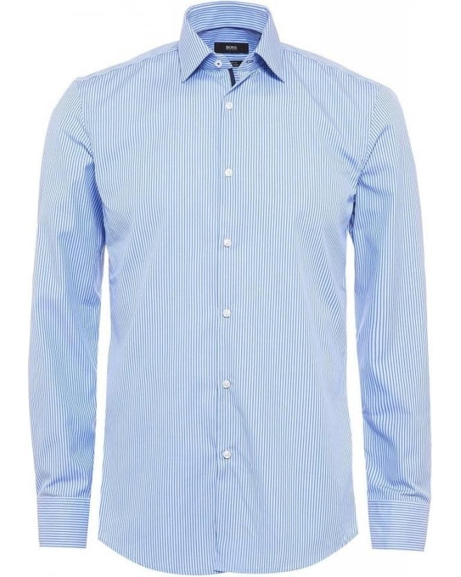 Hugo Boss Black Formal, Joey Stripe Cotton Slim Fit Sky Blue Shirt