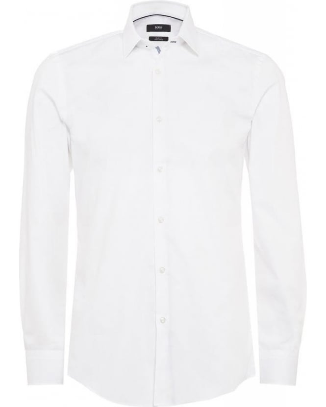 Hugo Boss Black Formal 'Joey' White Cotton Slim Fit Shirt