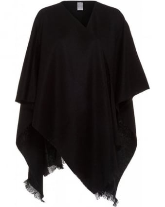 Black Wool Poncho One Size Cover Up