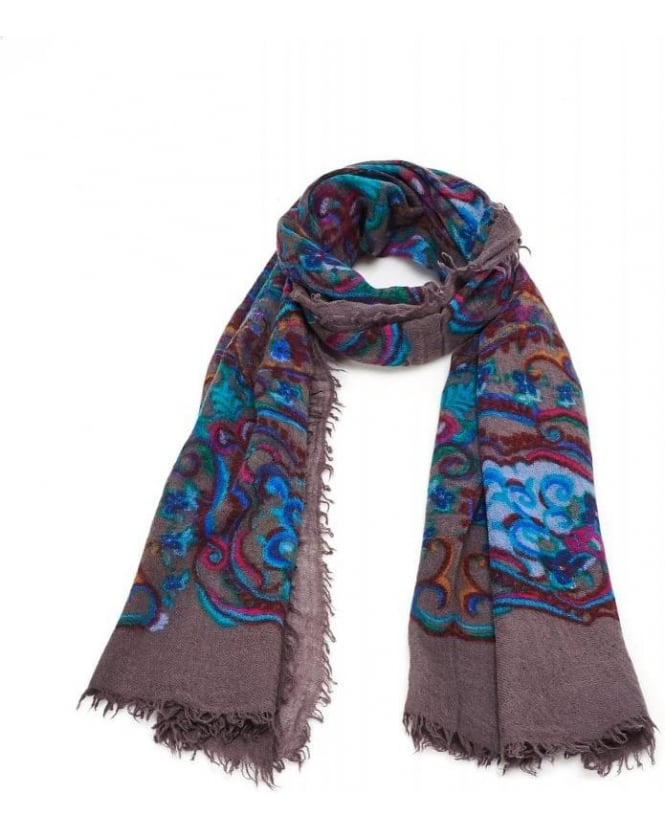 FRAAS Scarves Charcoal Paisley Print Scarf