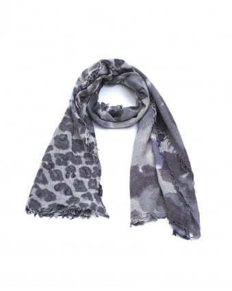 Womens Animal Print Grey Wool Mix Scarf