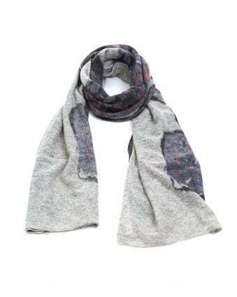 Womens Floral Grey Pink Knitted Woollen Scarf