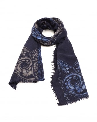Womens Ornament Edge Print Navy Blue Woollen Scarf