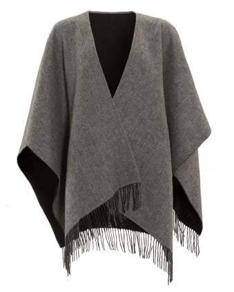 Womens Reverse Bicoloured Woollen Black Grey Poncho