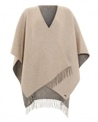 Womens Reverse Bicoloured Woollen Grey Camel Poncho