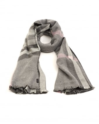Womens Reversible Classic Plaid Light Grey Pink Scarf
