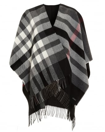 Womens Ruana Plaid Fringed Black Poncho