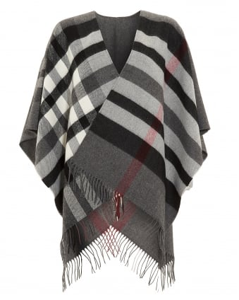 Womens Ruana Plaid Fringed Grey Poncho