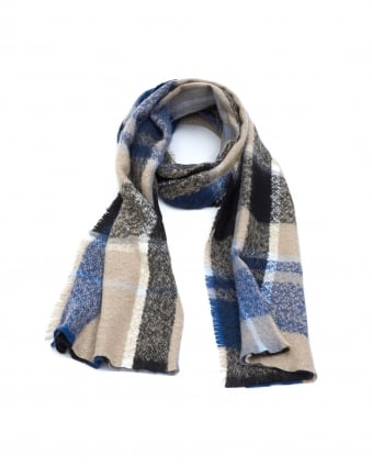 Womens Stole Checked Rectangular Blue Camel Scarf