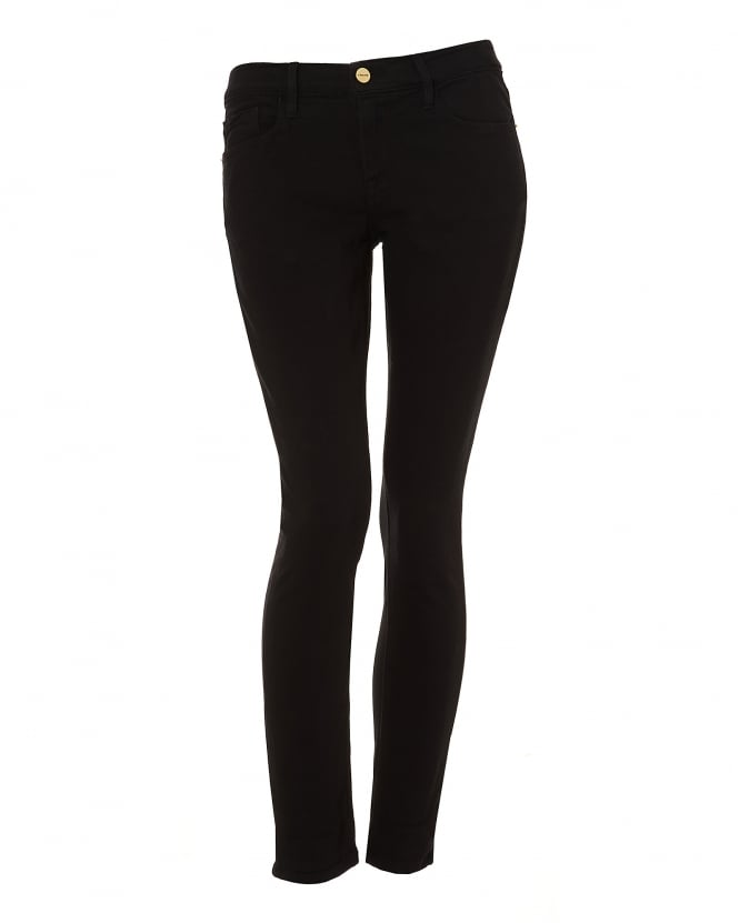 Frame Jeans Womens Le Garcon Jeans, Loose Thigh Skinny Black Denim