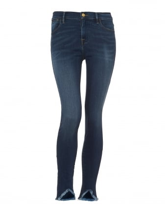 Womens Le High Skinny Jeans, Frayed Edge Sulham Blue Denim
