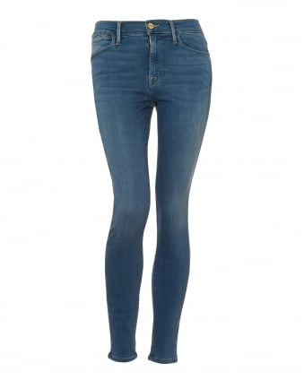 Womens Le High Skinny Jeans, High Rise Light Wash Roke Blue Denim