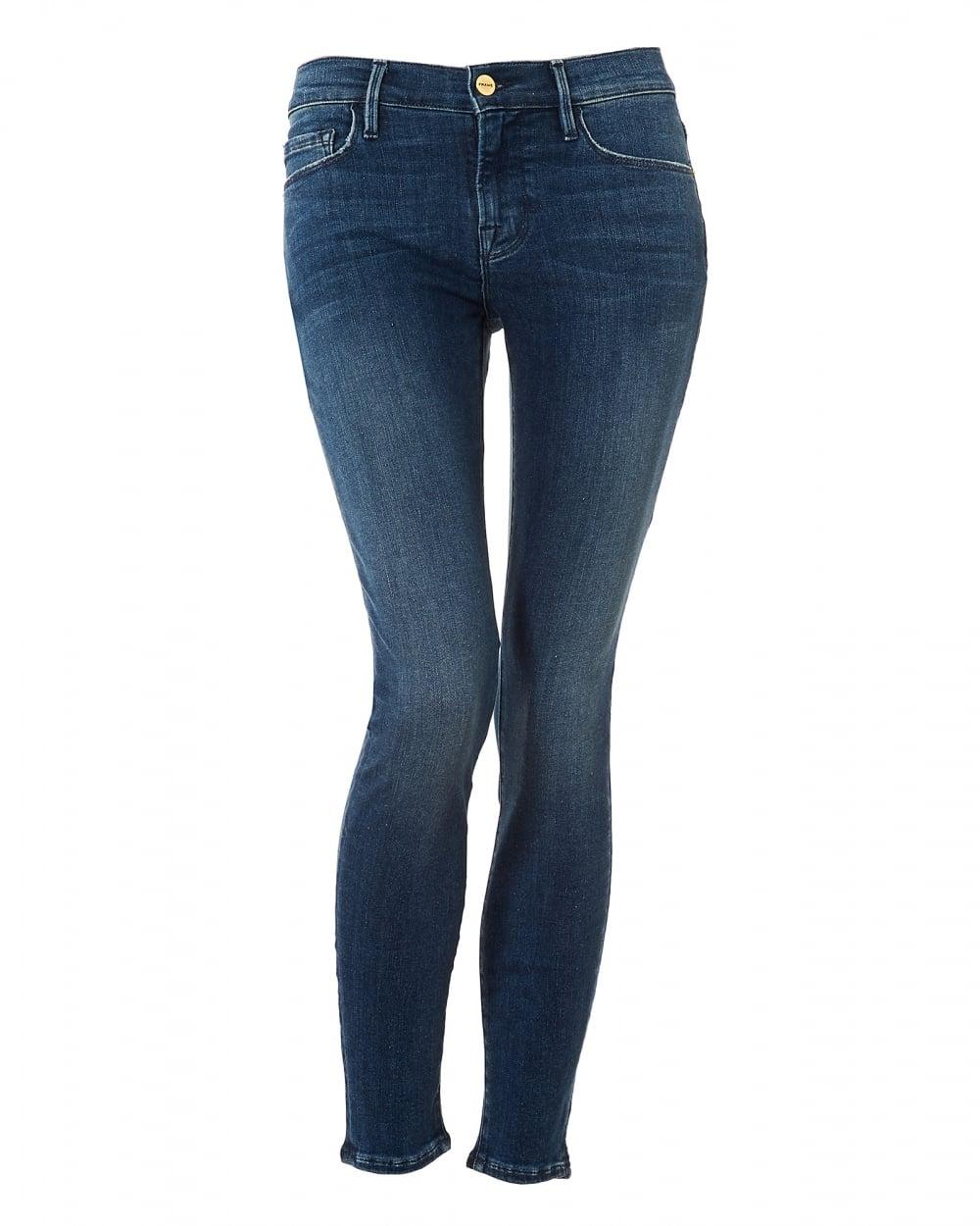 Frame Jeans Womens Le Skinny de Jeanne Frayed Top Rockridge Jeans