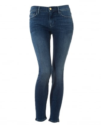 Womens Le Skinny de Jeanne Jeans, Frayed Top Rockridge Denim