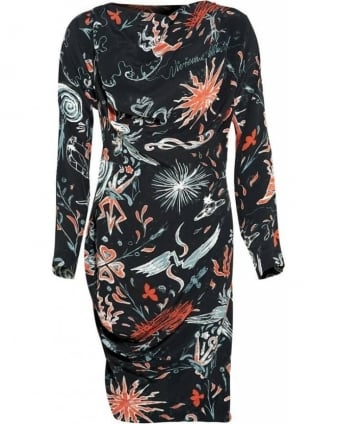 Franz Hals Print, Long Sleeve Flame Dress