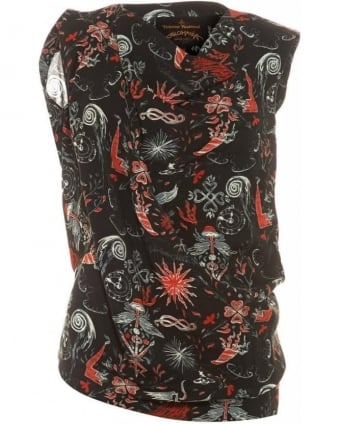 Franz Hals Print, Sleeveless Ruched Flame Chase Top
