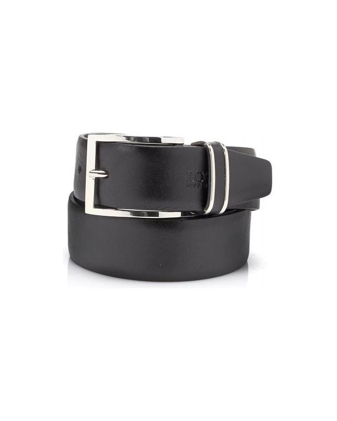 Hugo Boss Black Froppin Belt, Black Leather Belt