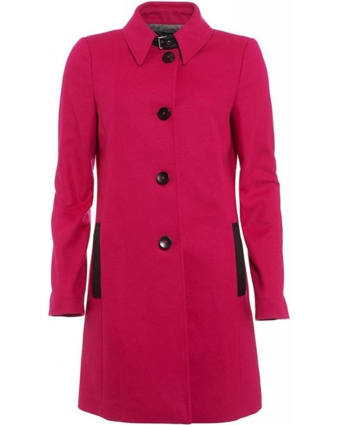 Armani Jeans Fuchsia Pink Wool Buckle Neck Coat