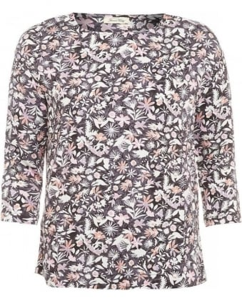 Galione Top, Floral Three-Quarter Sleeve T-Shirt