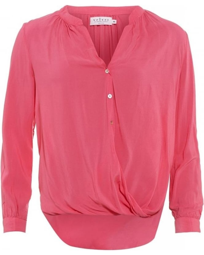 Velvet by Graham & Spencer Ganesa Confection Pink Draped Buttoned Blouse