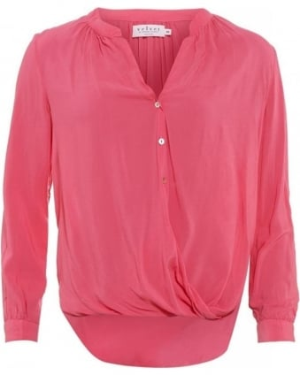 Ganesa Confection Pink Draped Buttoned Blouse