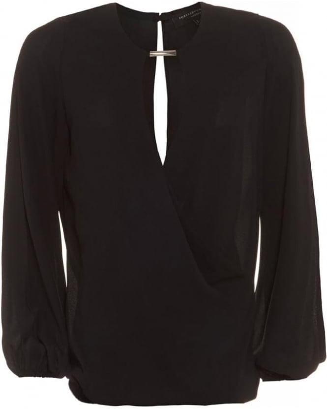Forever Unique Geneva Black Wrap Blouse With Open Cut Out Sleeves