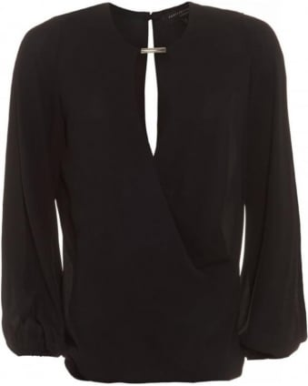 Geneva Black Wrap Blouse With Open Cut Out Sleeves