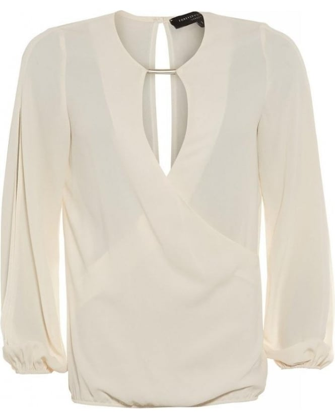 Forever Unique Geneva Ivory Wrap Blouse With Open Cut Out Sleeves