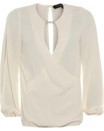 Geneva Ivory Wrap Blouse With Open Cut Out Sleeves