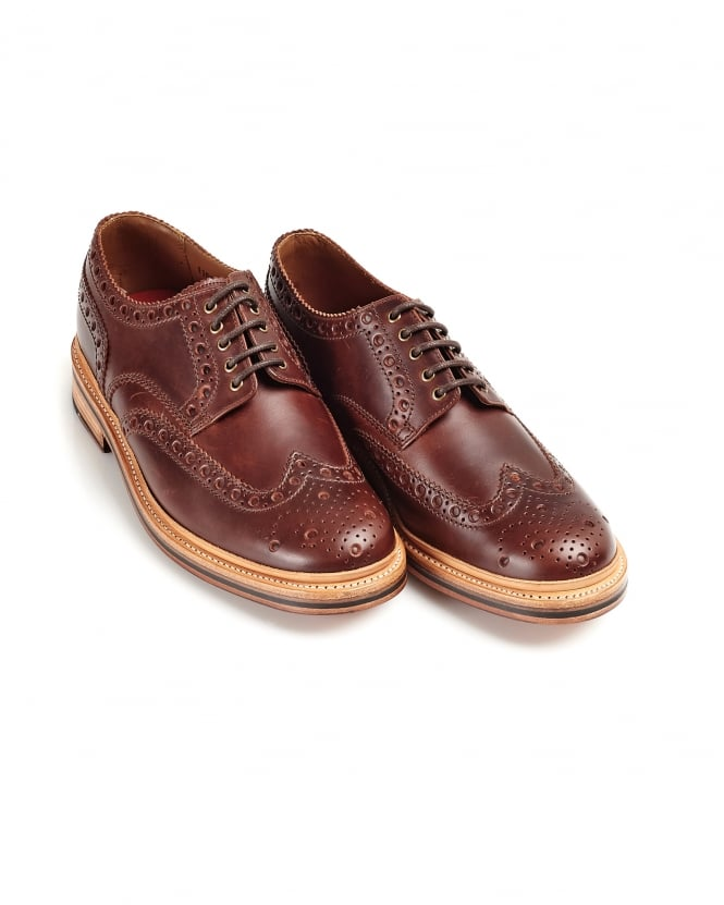 Grenson Shoes Mens Archie Chestnut Leather Derby Brogues