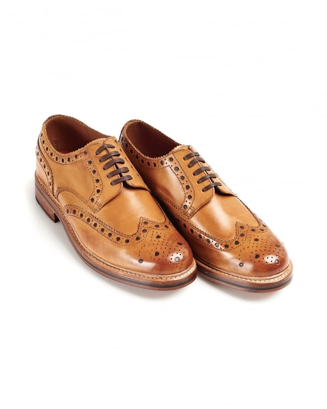 Grenson Shoes Mens Archie Tan Leather Derby Brogues