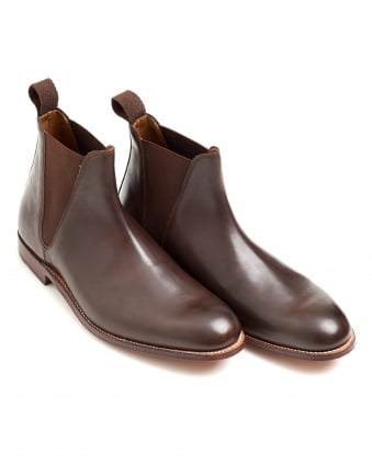 Mens Brown Burnt Pine Leather Chelsea Boot