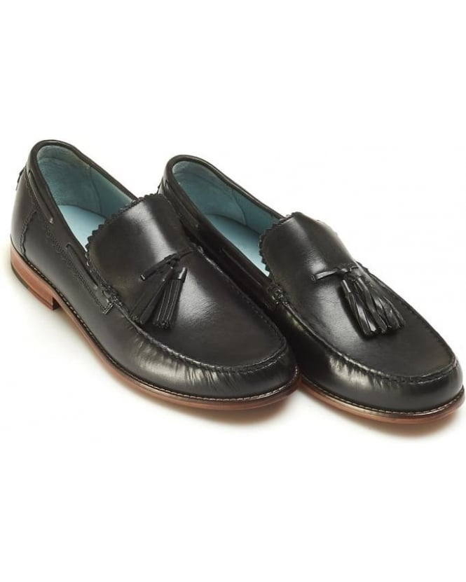 Grenson Shoes Mens Grayson Moccasins, Black Leather Tassel Loafer