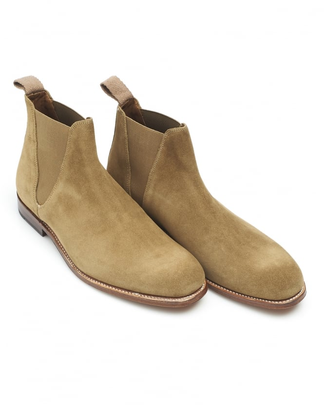 Grenson Shoes Mens Nolan Boot, Slip On Oatmeal Tobacco Chelsea Boot