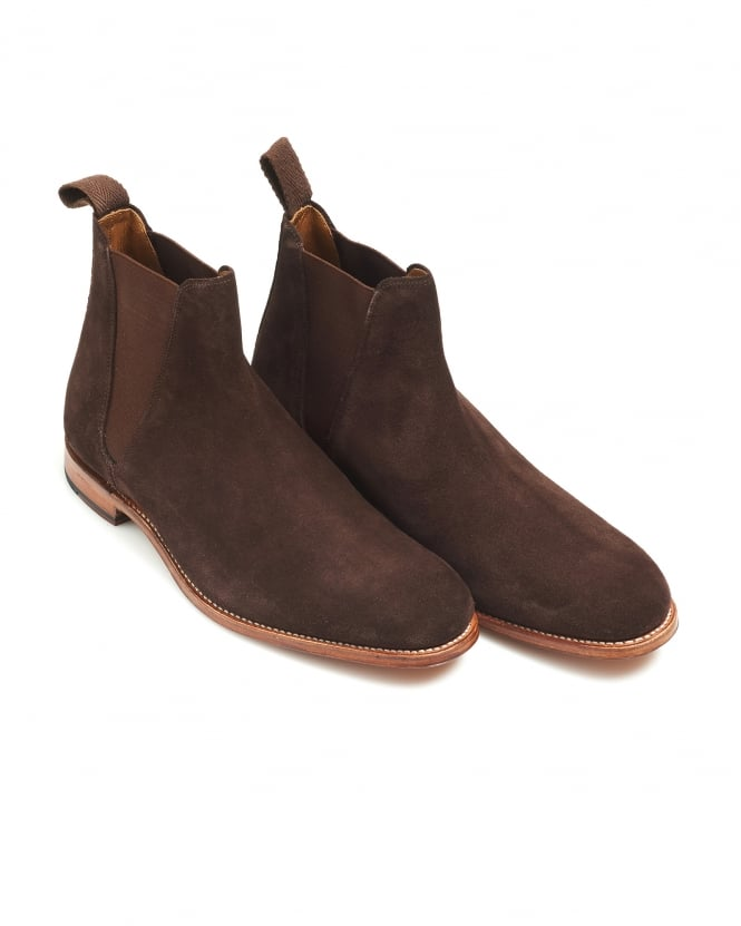 Grenson Shoes Mens Nolan Chocolate Brown Suede Chelsea Boot