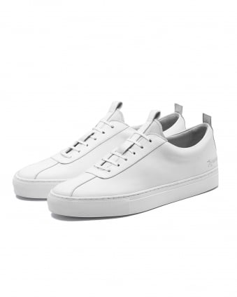 Mens Sneaker 1 White Trainers, Calf Leather Sneakers