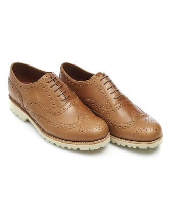 Mens Stanley Brogue, Natural Brown Leather Shoe